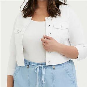 Torrid white collarless denim cropped jacket